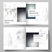 Vector Layout Of Two Covers Templates For Square Design Bifold Brochure, Flyer. Futuristic Geometric poster