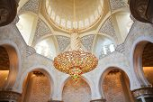Decoration of Sheikh Zayed Mosque and biggest in the world chandelier. Abu Dhabi, United Arab Emirat