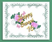 pic of sweet sixteen  - Image and illustration composition for Sweet 16 Birthday card or invitation with green canvas underliner - JPG