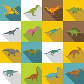 Dinosaur Icons Set. Flat Illustration Of 16 Dinosaur Icons For Web poster
