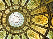 picture of stained glass  - Chicago Cultural Center interior view with Healy and Millet stained glass dome in the Grand Army of the Republic rotunda - JPG