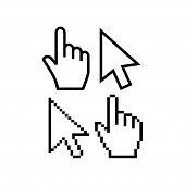 Mouse Cursor Vector Icons. Hand Cursor Pointer Icon, Pixel And Regular. Arrow Poiner Cursor Icon, Pi poster