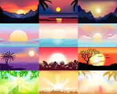 Sunset Vector Sunrise With Hawaii Palms Or Mountain Silhouette On Backdrop Illustration Set Of Tropi poster