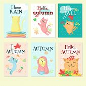 Autumn Cute Cat Icon Set, Vector Illustration poster