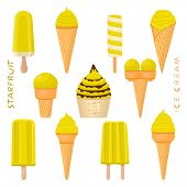 Vector Illustration For Natural Starfruit Ice Cream On Stick, In Paper Bowls, Wafer Cones. Ice Cream poster