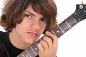 pic of teenage boys  - Close Up of Native American Teen Boy With Electric Bass Guitar Over White - JPG