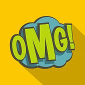 Omg, Comic Book Explosion Icon. Flat Illustration Of Omg, Comic Book Explosion Icon For Web Isolated poster