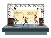 Music Festival Concert With Pop Music Band Playing Music. Musician And Singer Duet On Stage Vector I poster