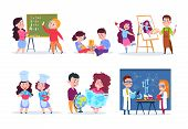 Children In Lessons. School Kids Studying Geography, Chemistry, And Math. Boys And Girls Read, Draw  poster