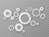 Gears Background. Cogwheels Gearing Isolated On Transparent Background. Machine Components Industria poster