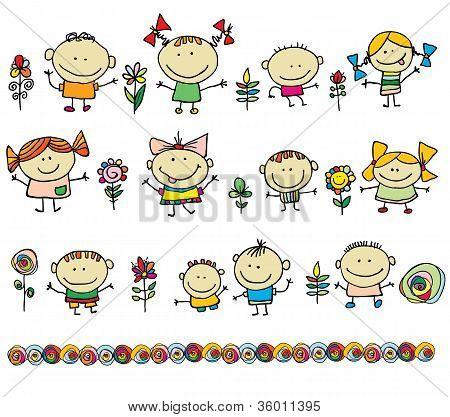 Hand drawn cartoon kids