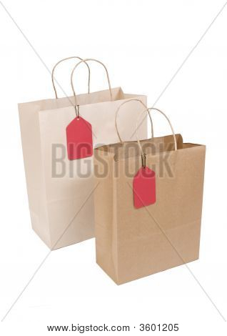 Two Shopping Bags With Red Tag