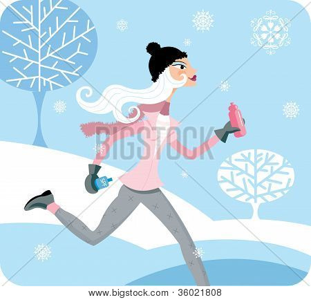 A Woman Jogging In The Winter