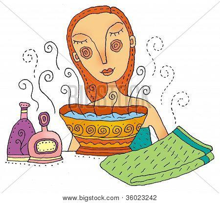 Girl Steaming Her Face