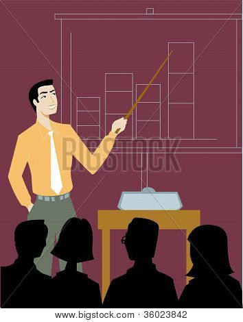 A Businessman Giving A Sales Presentation
