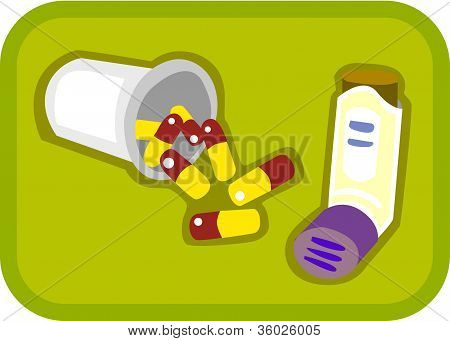 Illustration Of Pills And Puffer