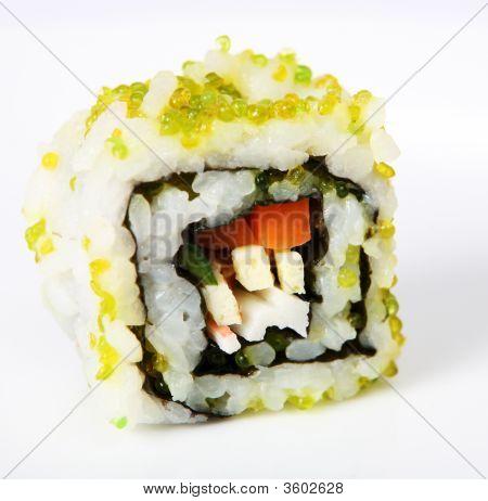 California Roll Uramaki With Green Caviar