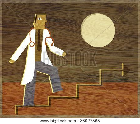 A Physician Climbing A Line Graph That Looks Like Stairs