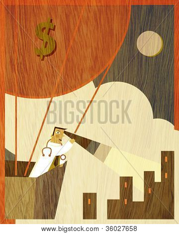 A Physician Using A Telescope In A Hot Air Balloon With A Big Dollar Sign Flying Above The City
