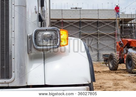 Concrete Truck and Worker