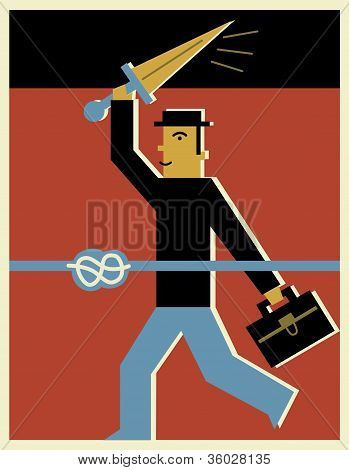 A Businessman With Sword About To Cut Through A Rope