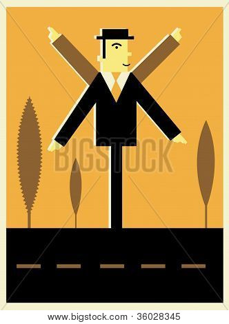 Illustration Of A Businessman As A Direction Sign