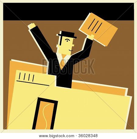 A Businessman Peeking Out Of A File Folder
