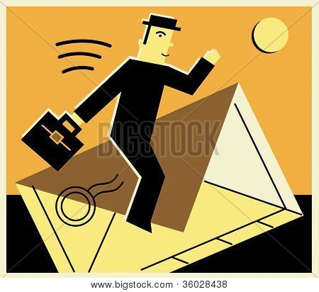 Man Taking A Ride On An Envelope