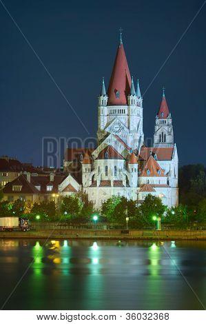 Church And Danube River In Vienna