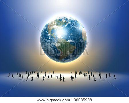 Planet earth and tiny human figures