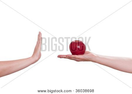 Hand Is Refusing An Apple