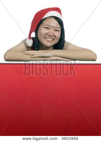 Christmas Santa Girl Holding A Notice Board