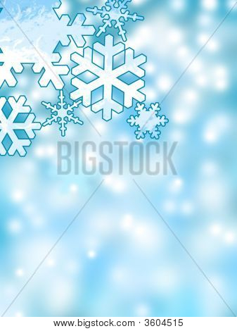 Abstract Winter Snowflakes Background