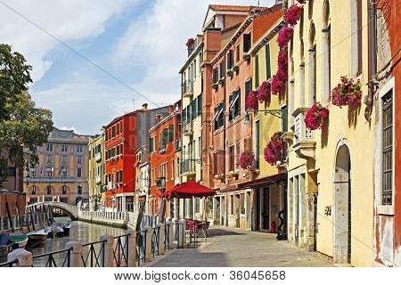 Venice Grand Canal With Gondolas, Italy In Summer Bright Day