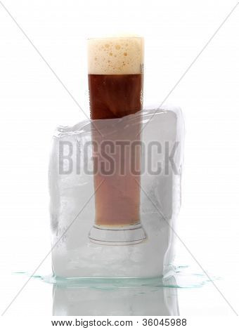 Glas Of Beer Brewed Of Wheat Captured In Ice
