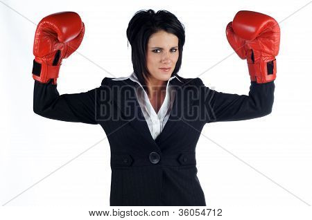 Business Woman Cheering In Boxing Gloves