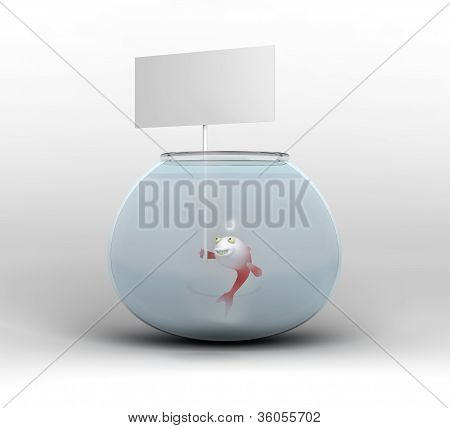 cartoon-style fish in a fishbowl