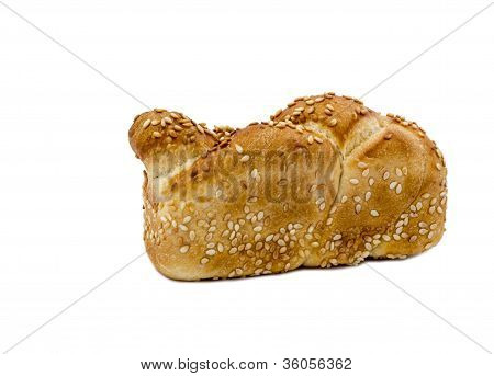 Loaf of challah  isolated on white background
