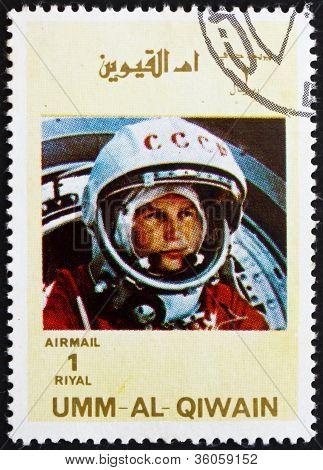 Postage stamp Umm al-Quwain 1972 Yuri A. Gagarin, Astronaut