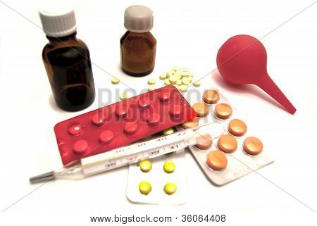 Pills, Enema And Thermometer Close-up