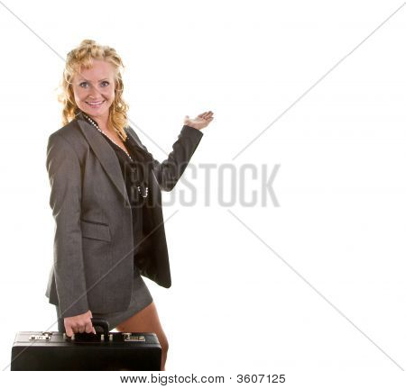Curly Blonde Briefcase Hand Up