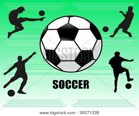 Soccer ball and players