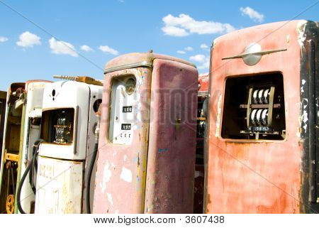 Group Of Obsolete Vintage Gas Pumps
