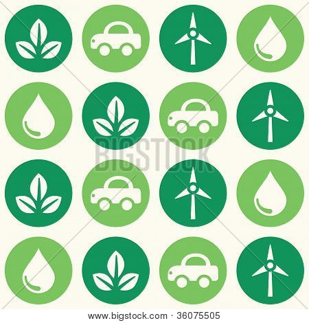 Retro eco green seamless background pattern