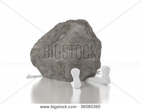 3D Person Crushed By A Heavy Rock.