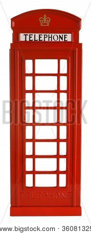 Iconic British Red Telephone Box Isolated on White Background