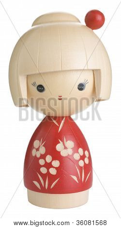 Red Kokeshi Wooden Japanese Doll Isolated on White Background
