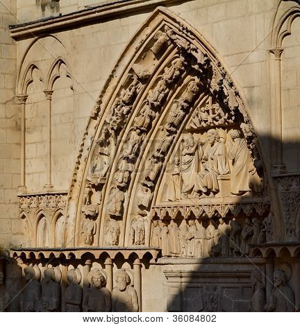 Door Of The Apostles In Burgos Cathedral. Spain