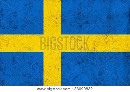 Grunge Dirty And Weathered Swedish Flag
