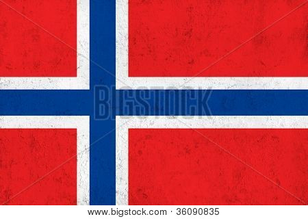 Grunge Dirty and Weathered Norwegian Flag
